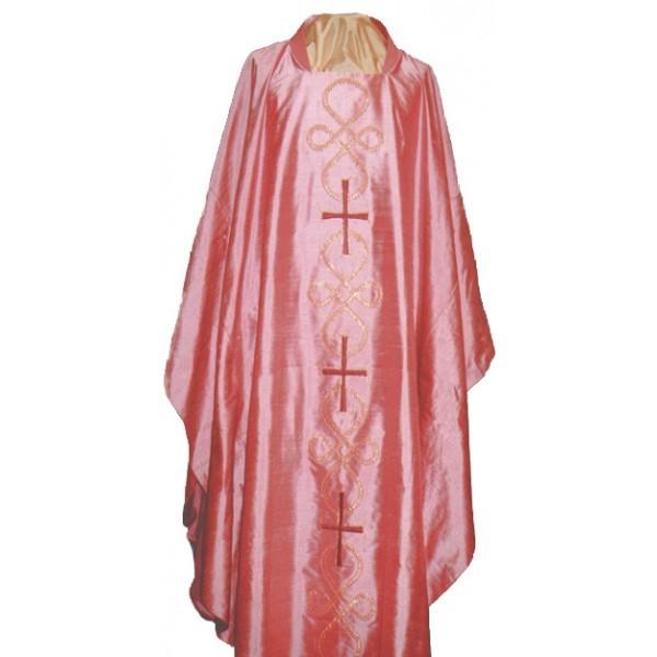 Messgewand - rosafarben, bestickt mit Schleifenornamenten und Kreuzen