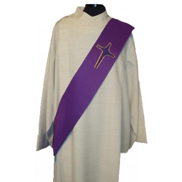 Diakonstola violett mit appliziertem Kreuz aus Seide - Vorderteil