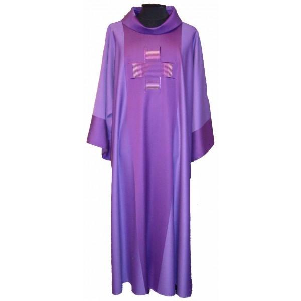 Dalmatik - violett mit eingesticktem Kreuz - Vorderteil