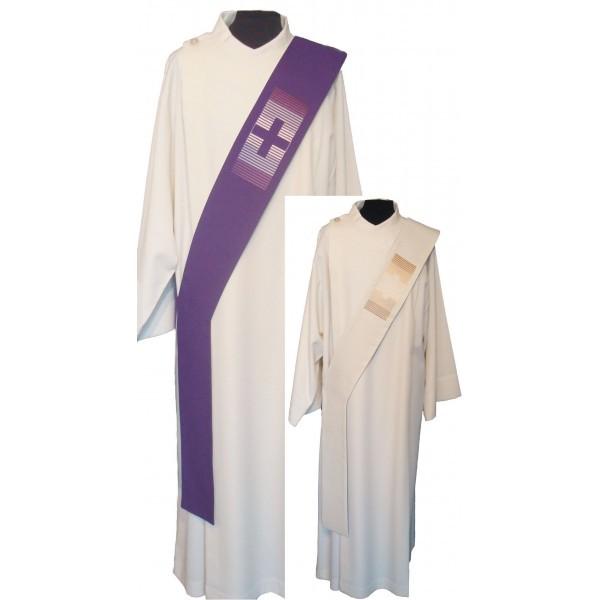 Wende-Diakonstola creme/violett mit Kreuz - Vorderteil