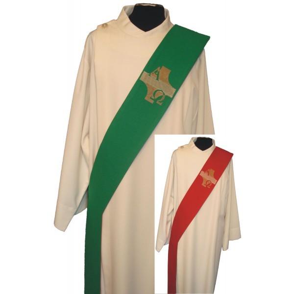 Wende-Diakonstola rot/grün mit Kreuz, A + O - Vorderteil