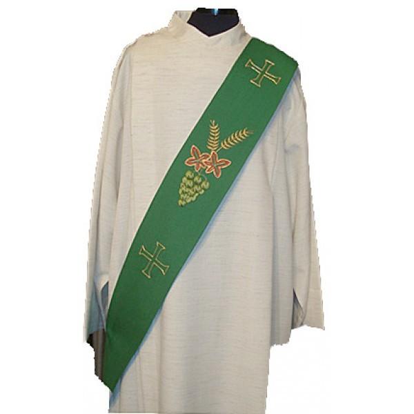 Diakonstola grün mit Trauben, Ähren und Kreuzen - Vorderteil