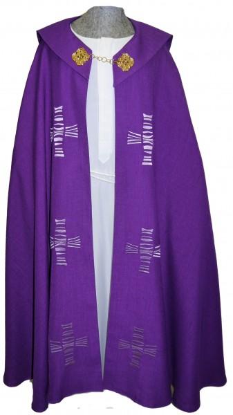 Violetter Chormantel mit modernen Kreuzen - Vorderteil