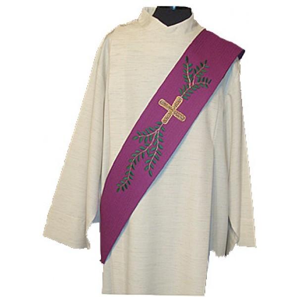 Diakonstola violett mit Blattranke und Kreuz - Vorderteil