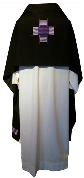 Schwarzes Schultervelum bestickt mit Kreuzband in violett - R