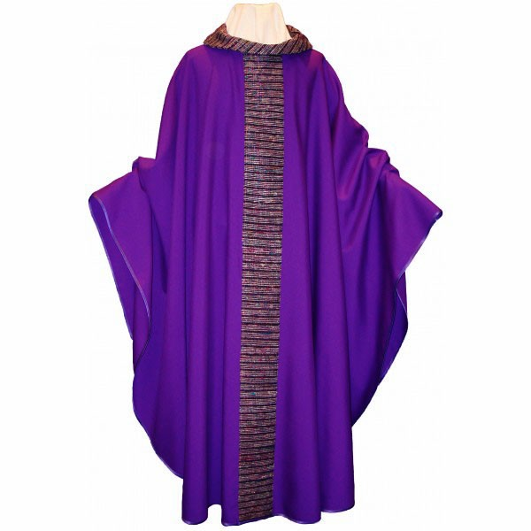 Messgewand - violett mit Mittelstab und Kragen V