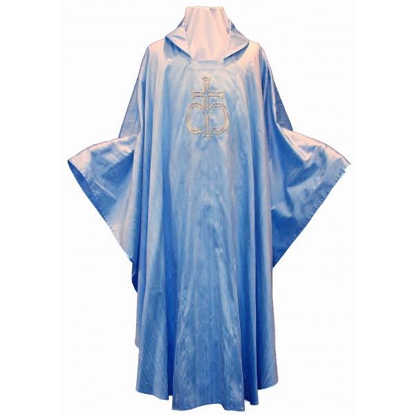 Blaue Marienkasel aus Seide bestickt mit Marienkreuz und französischer Lilie - Vorderteil