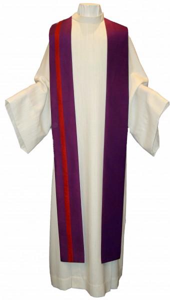 Seidenstola - violett mit rotem Streifen