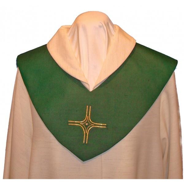 Scapulier - grün bestickt mit Kreuz und Perle