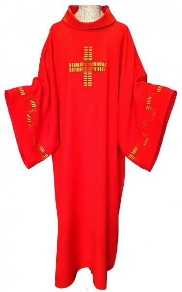 Rote Dalmatik mit Kreuz und Ärmelbestickung - Vorderteil