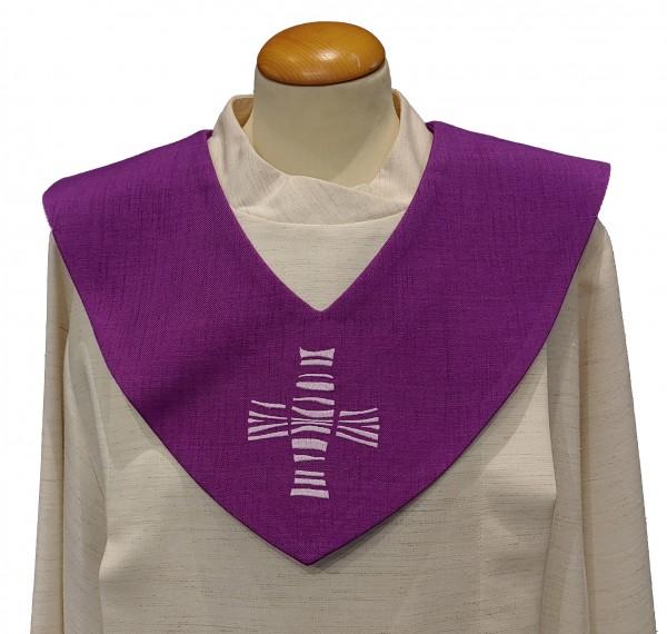 violettes Scapulier - modernes Kreuz