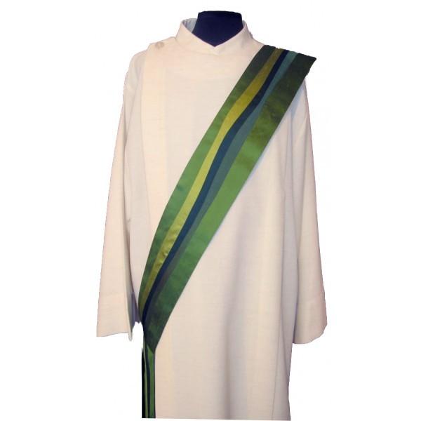 Diakonstola grün aus Seide - längsgestreift - Vorderteil