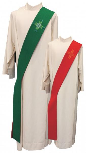 Wende-Diakonstola in rot/grün mit Kreuzen