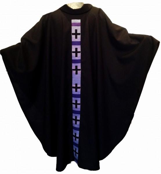 Messgewand - schwarz mit eingesticktem Mittelstab - violett 1