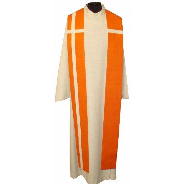 Seidenstola - orangefarben mit weißem Kreuz