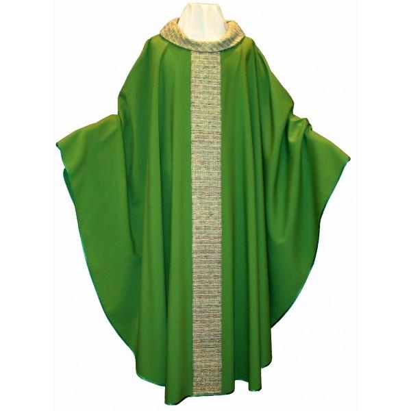 Kasel - grün mit Mittelstab und Kragen