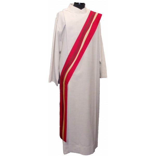 Diakonstola rot aus Seide - längsgestreift - Vorderteil