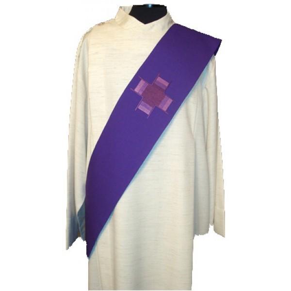 Diakonstola violett bestickt - Vorderteil