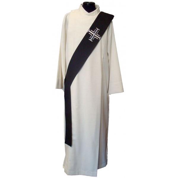 Diakonstola schwarz bestickt mit silbernen Kreuzen - Vorderteil