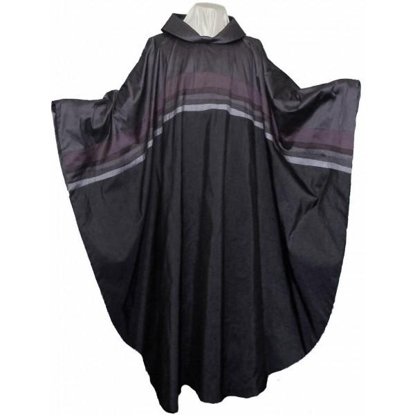 Seidenkasel - grau-schwarz mit Querblende