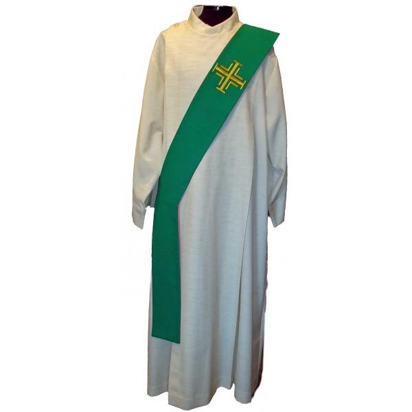Diakonstola grün mit goldenen Kreuzen - Vorderteil
