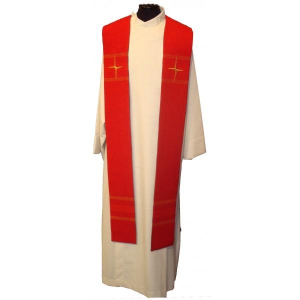 Stola - rot mit Kreuzen und Streifen bestickt