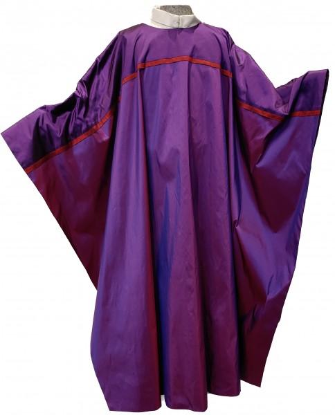 Seidengewand - violett mit dunkelroter Biese