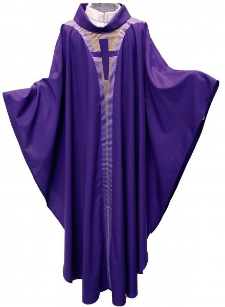 Violettes Messgewand mit dezenter Bestickung - 1