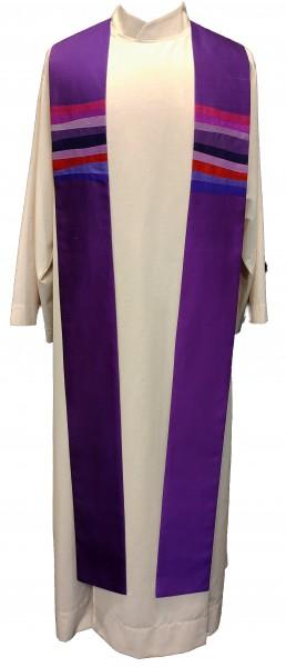 Seidenstola - violett mit Querstreifen