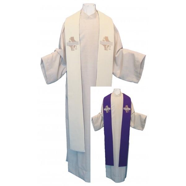 Wendestola mit Kreuz, Alpha und Omega - weiß/violett