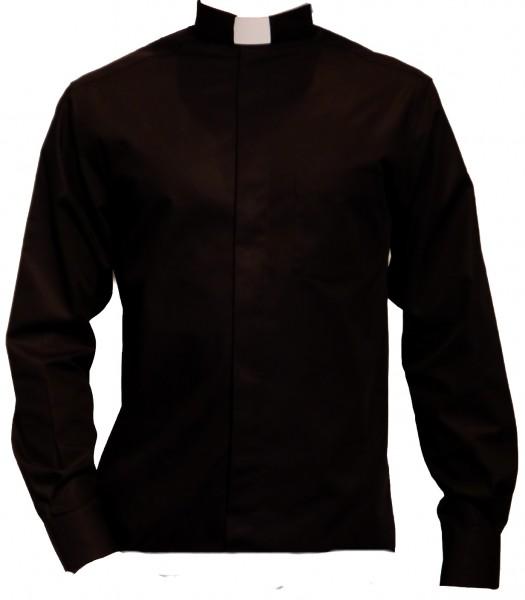 langärmeliges, schwarzes Slim Fit Collarhemd