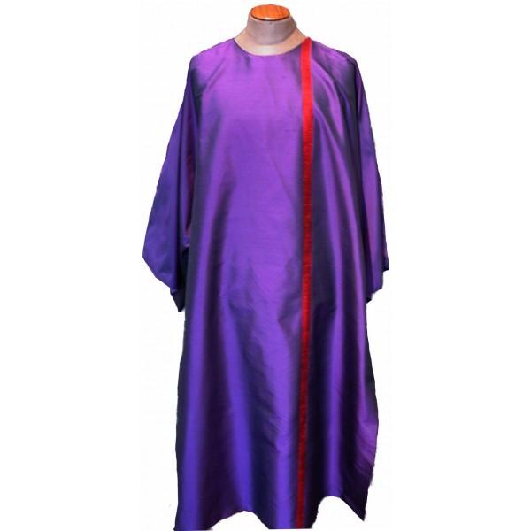 Dalmatik - violett mit rotem Streifen - Vorderteil