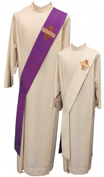 Wende-Diakonstola weiß/violett, mit Kreuz, A + O