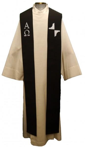 schwarze Stola Kreuz mit AO