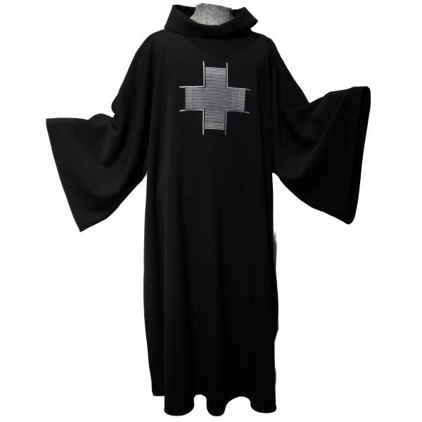 Schwarze Dalmatik mit eingesticktem Kreuz - Vorderteil