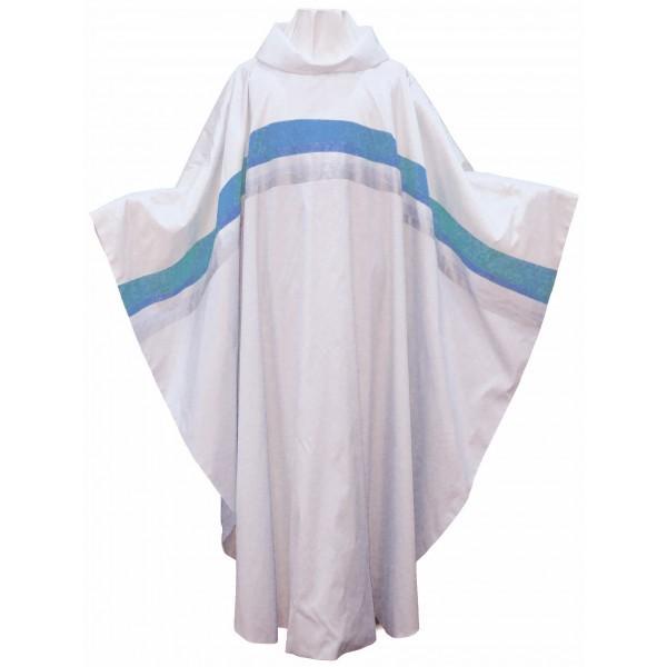 Marienkasel aus reiner Seide mit eingesetztem blauen Streifen