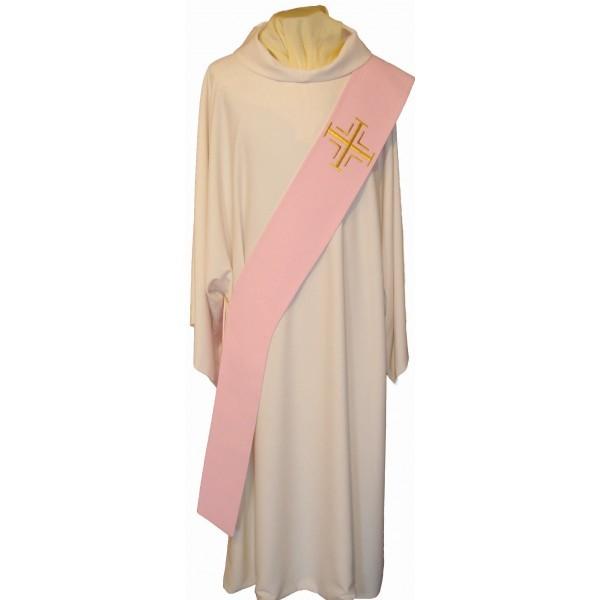 Diakonstola rosa mit goldenen Kreuzen - Vorderteil