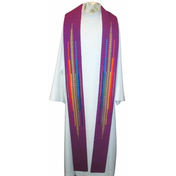Stola - violett mit Streifen in Regenbogenfarben