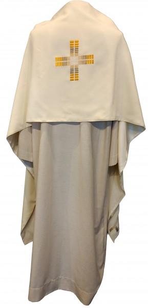 Cremefarbenes Schultervelum bestickt mit Kreuz - Rücken 1