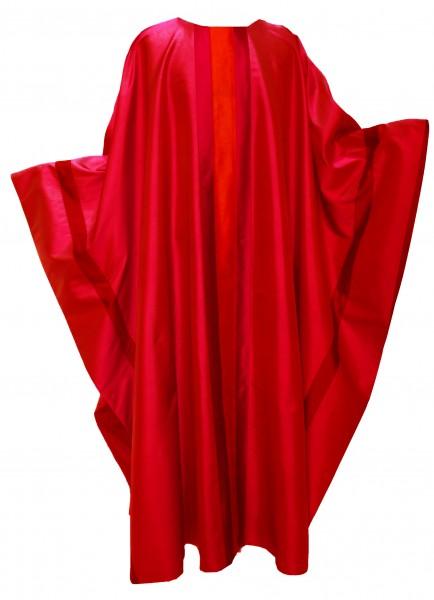rote Seidenkasel mit aufgesetzten Streifen