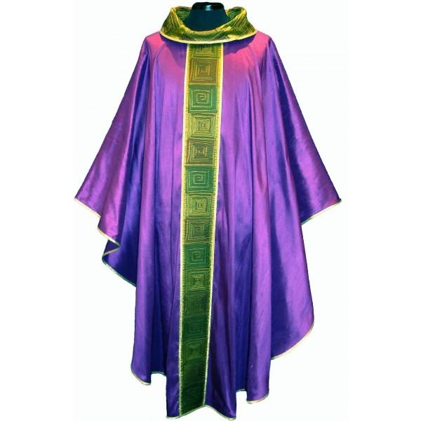 Messgewand - violett mit Mittelstab und Kragen