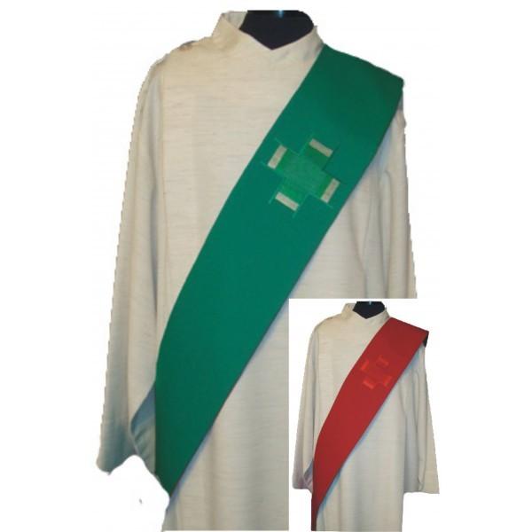 Wende-Diakonstola mit 1 Kreuz - grün/rot - Vorderteil