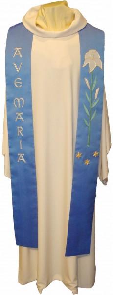 Marienstola aus blauer Seide mit Ave Maria und Lilie - handbestickt