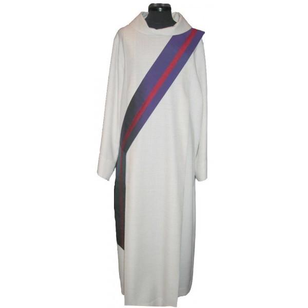 Diakonstola violett mit rotem Streifen - Vorderteil