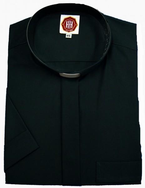 schwarzes, kurzärmeliges Collarhemd - Deutsches Markenfabrikat