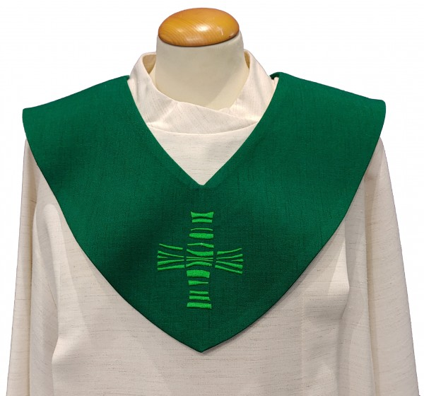grünes Scapulier - modernes Kreuz