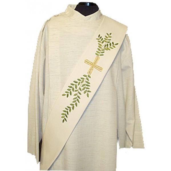 Diakonstola creme mit Blattranke und Kreuz - Vorderteil