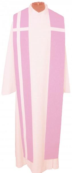 Seidenstola - rosafarben mit weißem Kreuz