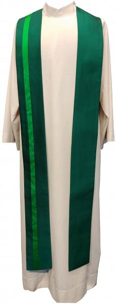 Seidenstola - grün mit grünem Streifen