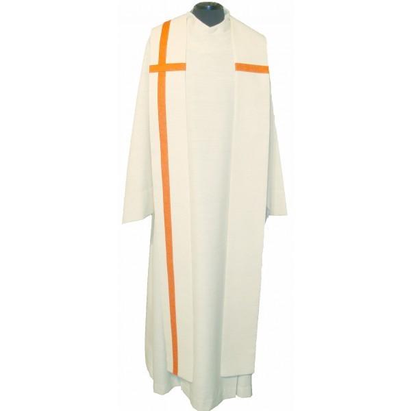 Seidenstola - cremefarben mit orangefarbenem Kreuz
